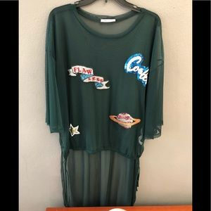 Zara long back top y green with details